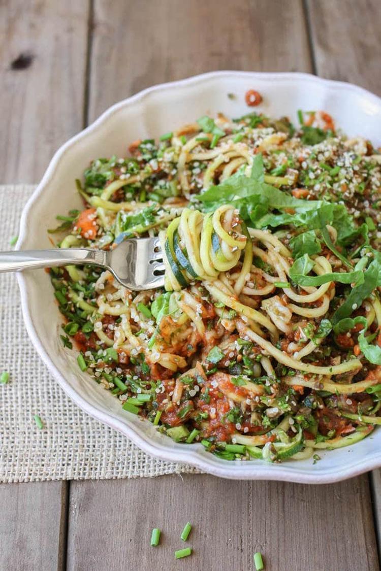 Raw Zucchini Noodles &Veggies